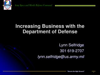 Increasing Business with the Department of Defense