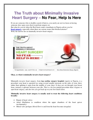 The Truth about Minimally Invasive Heart Surgery – No Fear, Help Is Here