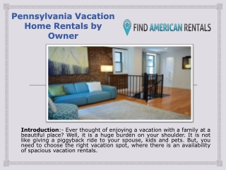 Pennsylvania Vacation Home Rentals by Owner