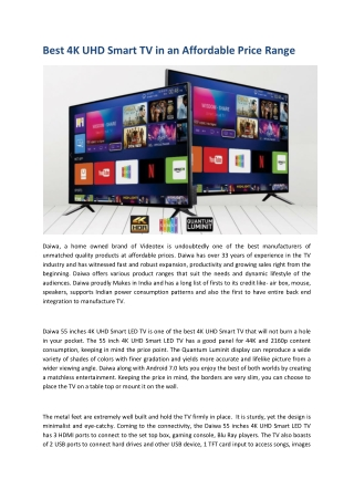 Best 4K UHD Smart TV in an Affordable Price Range