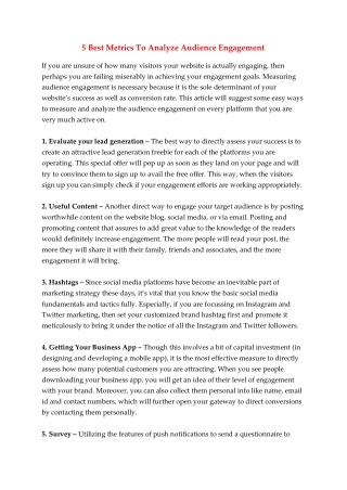 5 Best Metrics To Analyze Audience Engagement