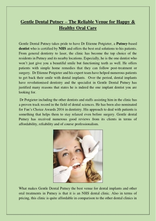 Gentle Dental Putney – The Reliable Venue for Happy & Healthy Oral Care