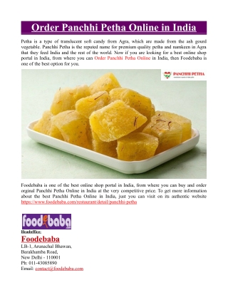Order Panchhi Petha Online in India