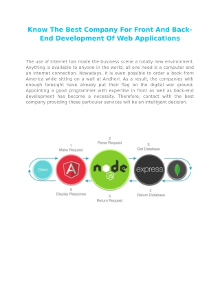 Know The Best Company For Front And Back-End Development Of Web Applications