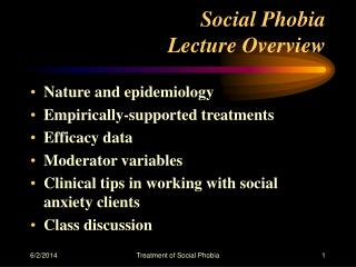Social Phobia Lecture Overview