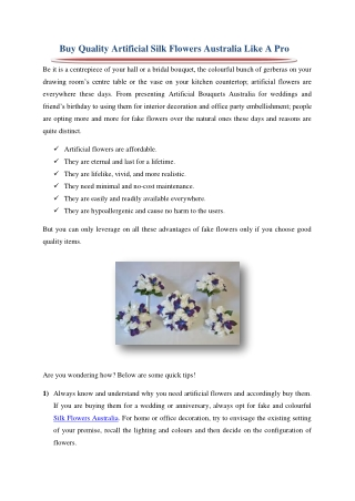 Buy Quality Artificial Silk Flowers Australia Like A Pro