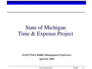 State of Michigan Time  Expense Project