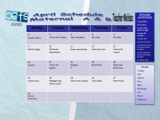 April Schedule Maternal A & B