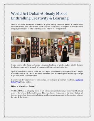 World Art Dubai-A Heady Mix of Enthralling Creativity & Learning