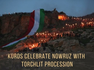 Kurds celebrate Nowruz with torchlit procession