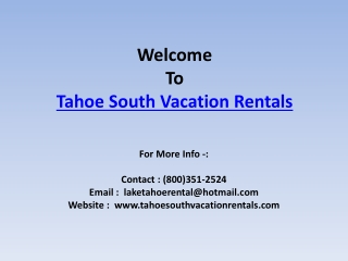 South Lake Tahoe Condo Rentals