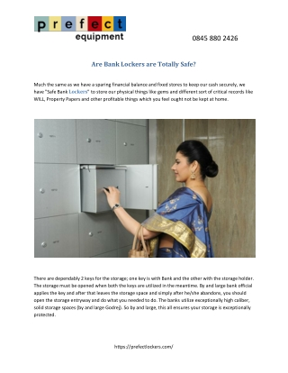 Are Bank Lockers are Totally Safe?