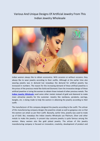Women Can Obtain Various And Unique Designs Of Artificial Jewelry From This Indian Jewelry Wholesale Company