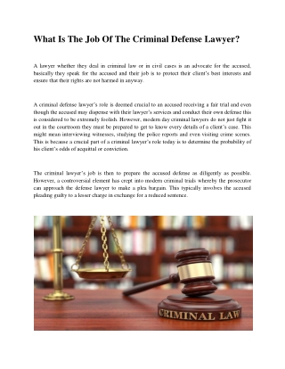 What Is The Job Of The Criminal Defense Lawye