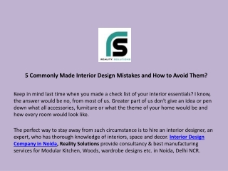 5 Commonly Made Interior Design Mistakes and How to Avoid Them?