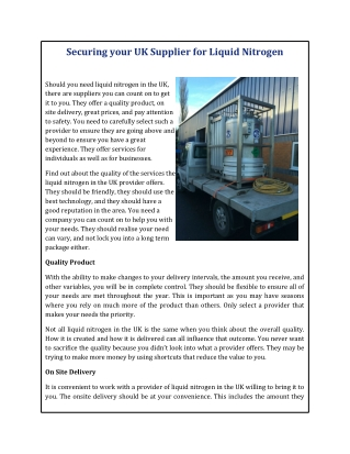 Securing your UK Supplier for Liquid Nitrogen