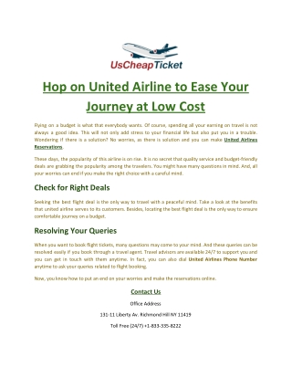 Hop on United Airline to Ease Your Journey at Low Cost