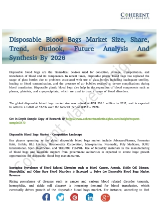 Disposable Blood Bags Market to Reflect a Holistic Expansion During 2018-2026