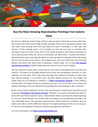 Buy the Most Amazing Reproduction Paintings from Galerie Dada
