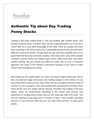 Authentic Tip about Day Trading Penny Stocks