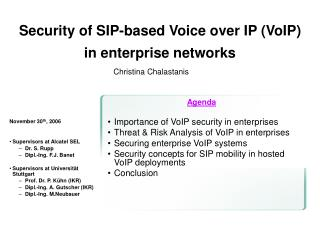 Security of SIP-based Voice over IP VoIP  in enterprise networks