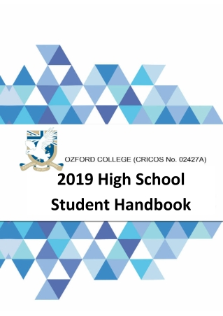 Ozford - 2019 High School Student Handbook