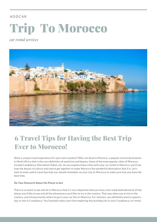 addCar: 6 Travel Tips for Having the Best Trip Ever to Morocco
