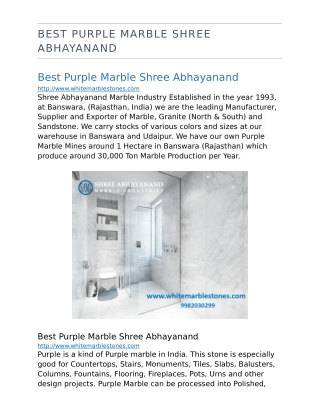 Best purple marble shree abhayanand