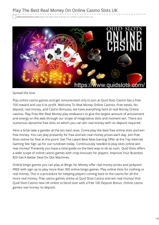 Play The Best Real Money On Online Casino Slots UK