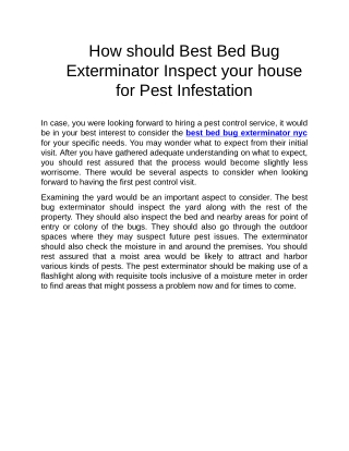 best bed bug exterminator nyc