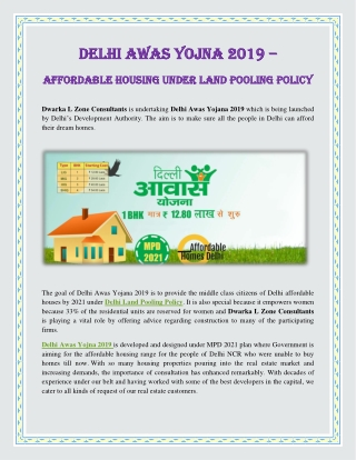 Delhi Awas Yojna 2019 – Affordable Housing Under Land Pooling Policy