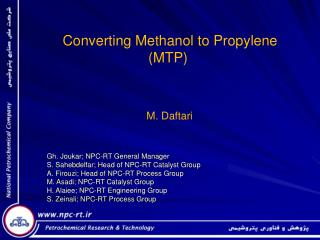 Converting Methanol to Propylene (MTP)