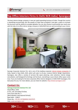Top Office Interiors Firms In Delhi NCR-India-Synergyce