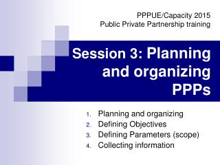 Session 3:  Planning and organizing PPPs