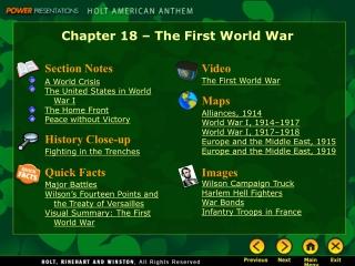 Chapter 18 – The First World War