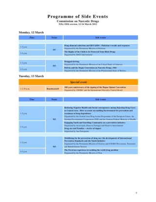 Programme of Side Events CND UN 2012