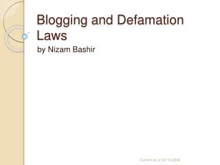 Blogging and Defamation Laws