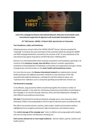 Dianova Listen First Brief Intervention Prevention CND UNODC 2018