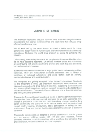 Therapeutic Communities Joint Statement CND UNODC 2018