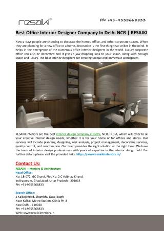 Best Office Interior Designer Company in Delhi
