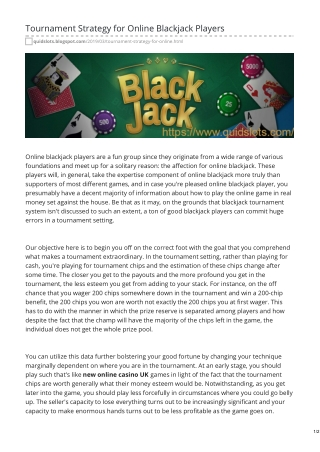 Tournament Strategy for Online Blackjack Players