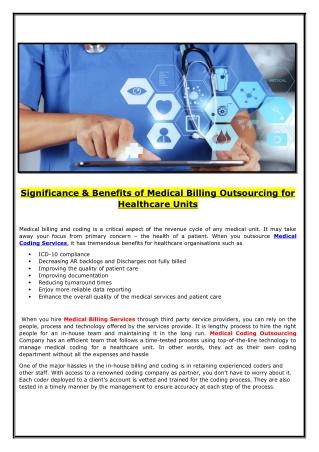 Benefits of Outsourcing Medical Billing Services : elitemedbiz.com