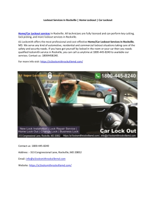 Lockout Services in Rockville | Home Lockout | Car Lockout