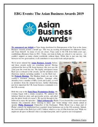 EBG Events: The Asian Business Awards 2019 | eBusiness Guru
