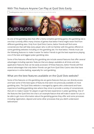 With This Feature Anyone Can Play at Quid Slots Easily