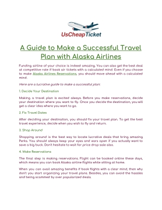 A Guide to Make a Successful Travel Plan with Alaska Airlines
