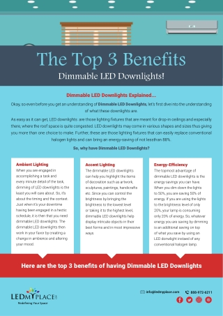 The Top 3 Benefits Of Dimmable LED Downlights
