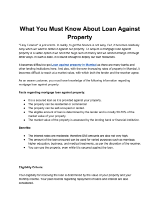 What You Must Know About Loan Against Property
