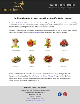Online Flower Store - Interflora Pacific Unit Limited