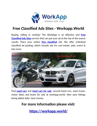 Free Classified Ads Sites - Workapp.World